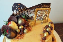 Chocolate and Gold Music Themed Cake - Copper Spoon Cakery