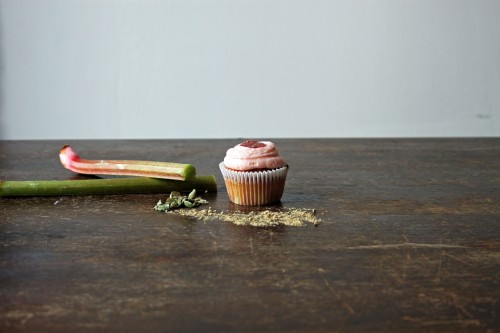 rhubarb and ginger cupcake