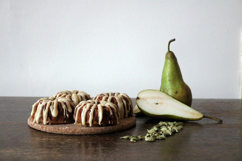 Pear and cardamom cakes- copper spoon cakery