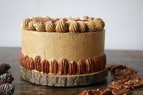 pecan pie cake close up- copper spoon cakery