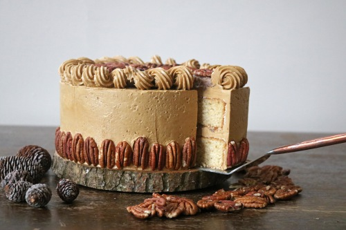 pecan pie cake cut- copper spoon cakery