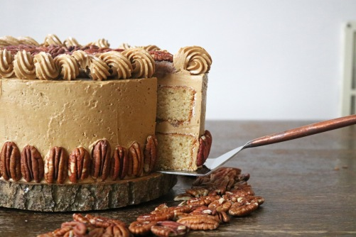 pecan pie cake cut close up- copper spoon cakery